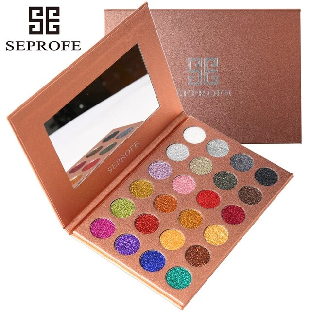 aliexpress - SEPROFE Brand 24 Colors Eyeshadow Pallete Diamond Glitter Powder Foiled Matte Eye Shadow Palette Single Makeup Set for Beauty