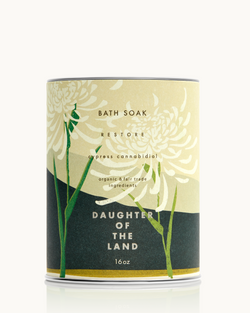 Daughter of the Land logo and link to homepage - CBD Cypress Bath Soak