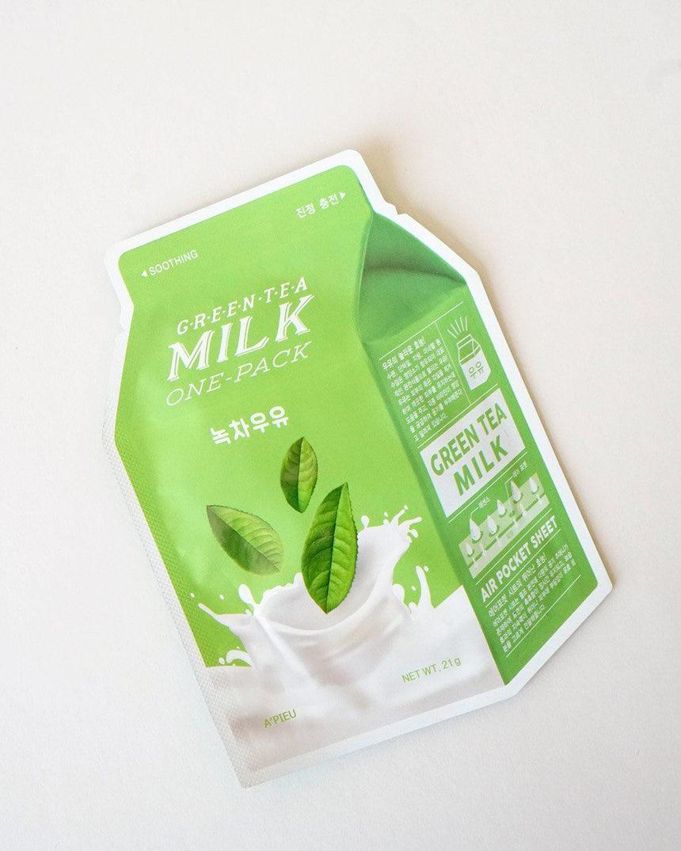A'Pieu - A'PIEU Green Tea Milk Sheet Mask 4 Pack