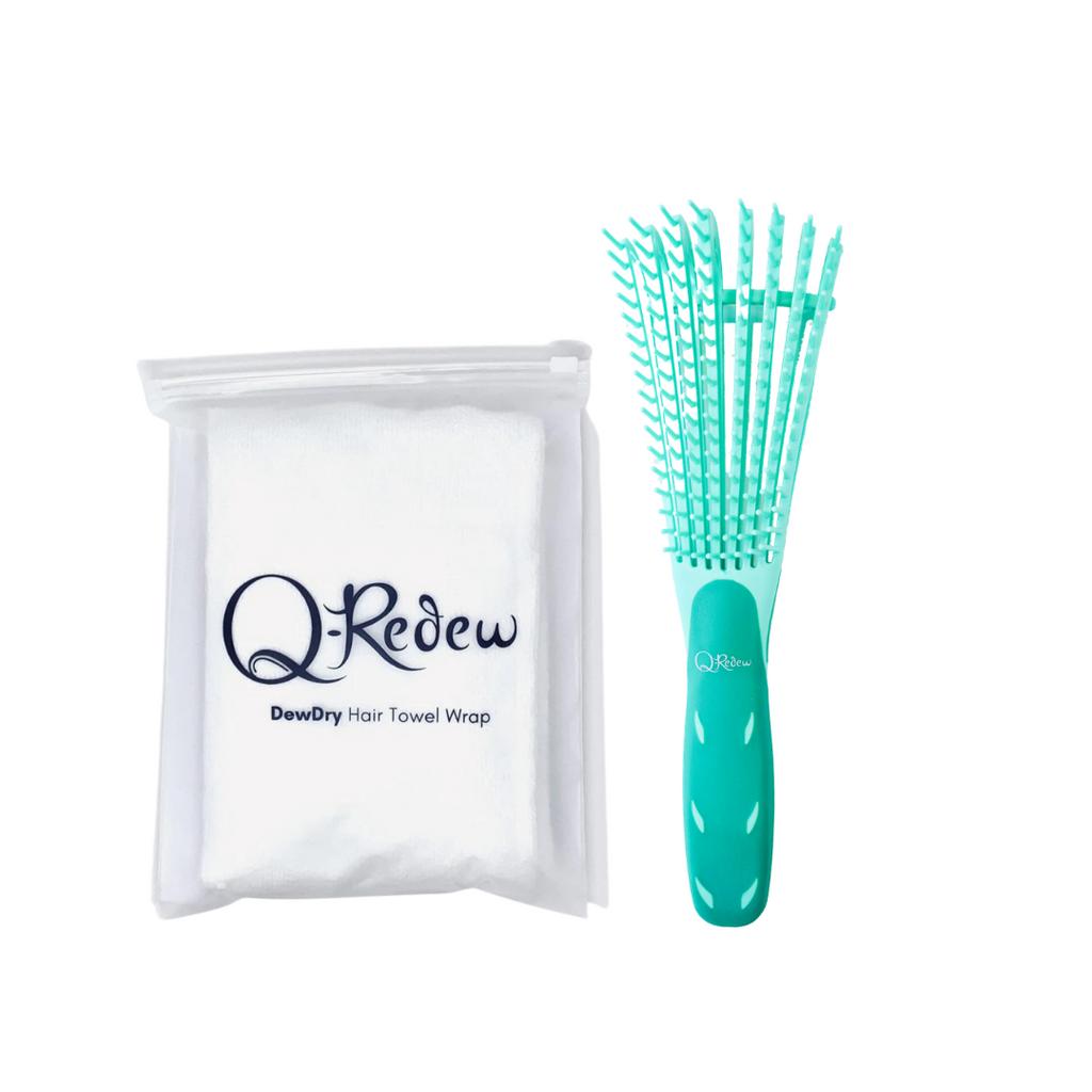 qredew - Q-Redew DewDetangle Detangling Brush and DewDry Microfiber Towel Wrap Bundle