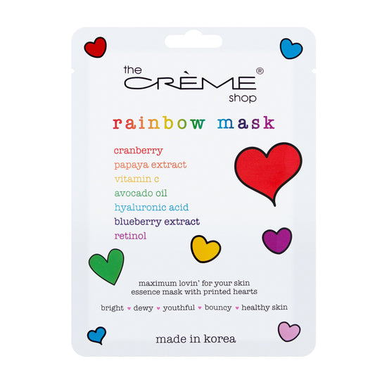 www.thecremeshop.com - Rainbow Face Mask Printed with Rainbow Hearts