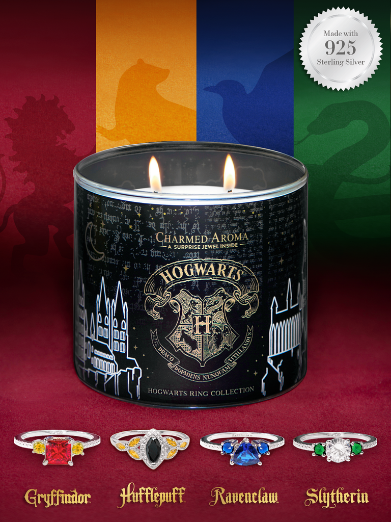 charmedaroma - Harry Potter Hogwarts Candle - Hogwarts House Ring Collection
