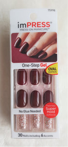 : imPRESS by Kiss and Broadway Nails - KISS imPRESS BURGUNDY+GLITTER Accents Press-On Nails SYMPHONY #75998