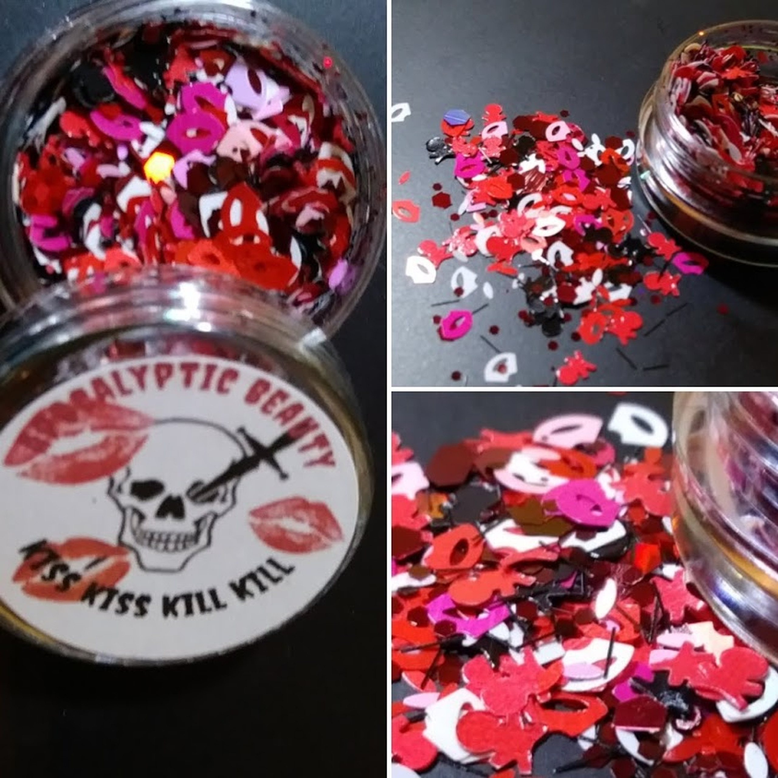 Kiss - Kiss Kiss Kill Kill (LE) - kisses and skulls chunky glitter blend