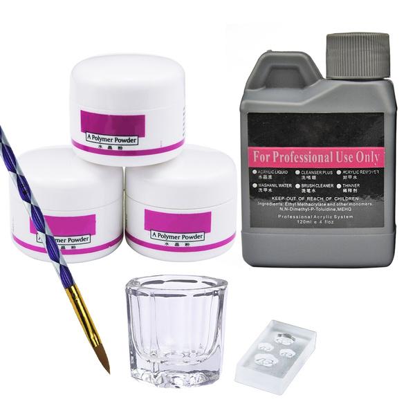 wish.com - Nail Art Kit Acrylique Poudre 120ml Liquide Faux Ongles Astuces Brosse Moule Manucure Outils