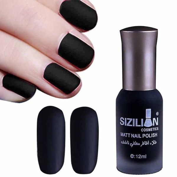 cute.wish.com - 1 Bottle 12ml Black Matte Dull Fast-dry Nail Polish Manicure Nail Art Varnish Lacquer