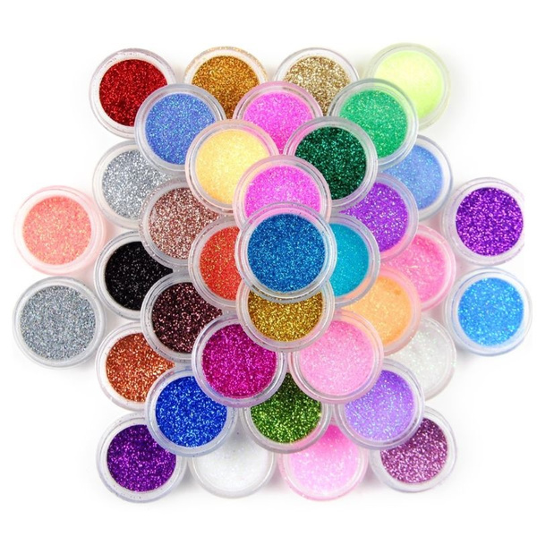 wish.com - 45 Colors Nail Art Glitter Glossy Powder Pots Set Sequins Shining Holographic Laser Pigment Dust Manicure DIY Fingers Beauty Decor RES