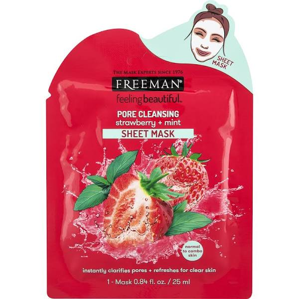 google - Freeman Feeling Beautiful Sheet Mask, Strawberry + Mint, Pore Cleansing - 1 mask, 0.84 fl oz