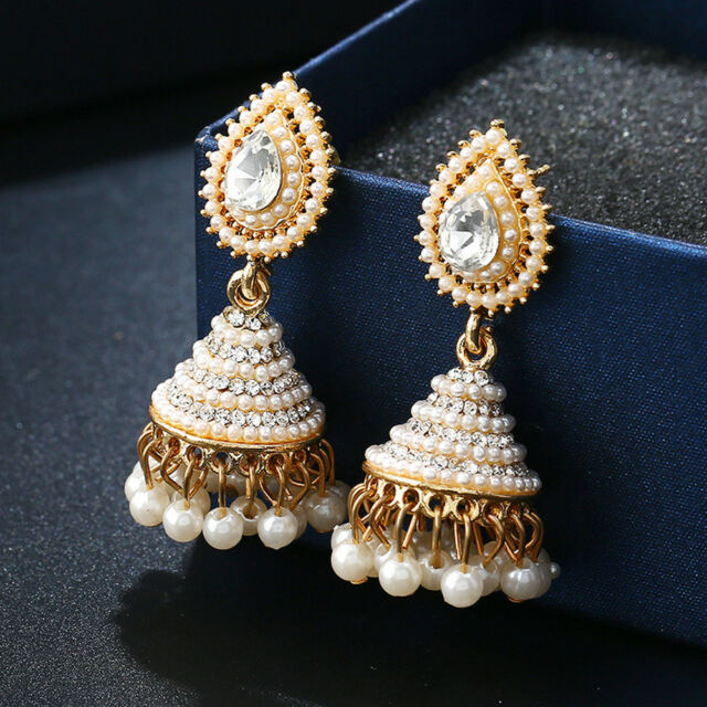 eBay - Retro Indian Earrings Pearl Pendant Jhumka Drop Ear Stud Wedding Dangle Jewelry