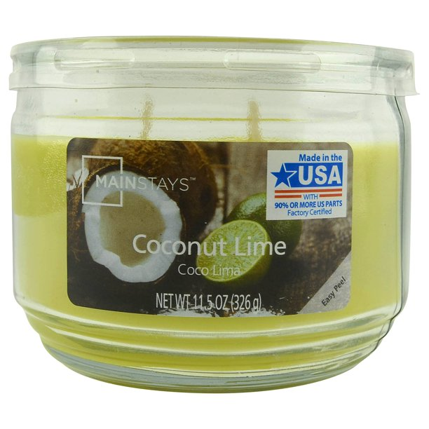 Mainstays - 3-Wick Candle, Coconut Lime