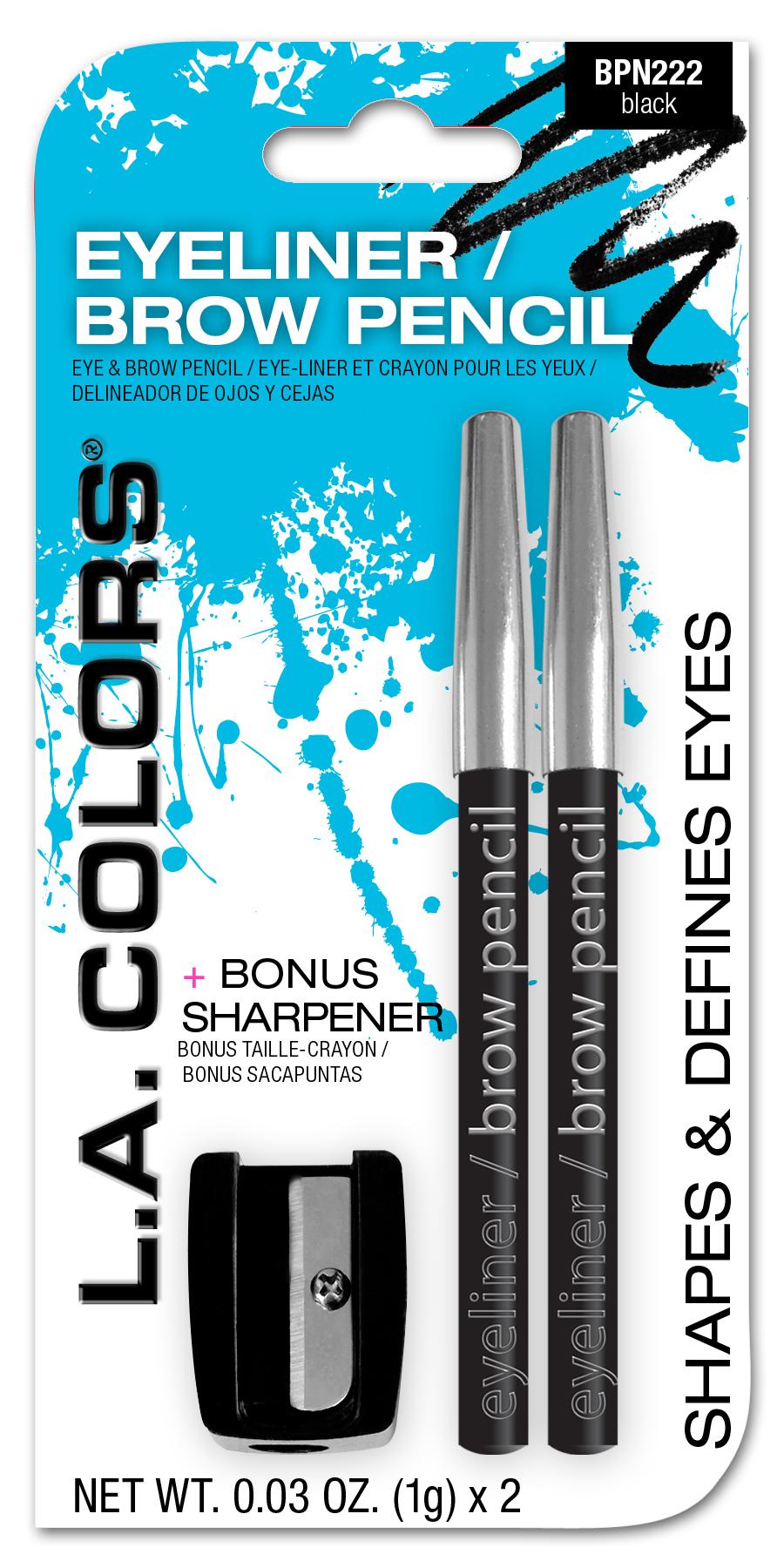 L. A. Colors - LA Colors Eyeliner, Brow Pencil & Sharpener, Black