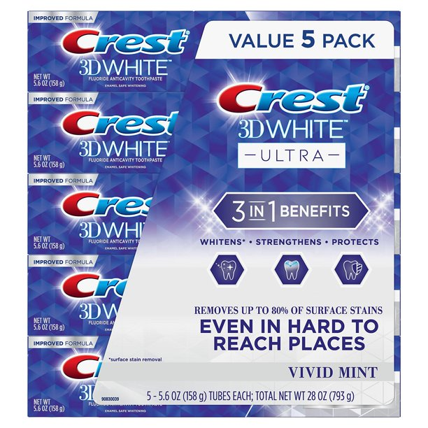 Whitening Tooothpaste - Crest 3D White Ultra Whitening Toothpaste Vivid Mint 5.6 oz 5 pk