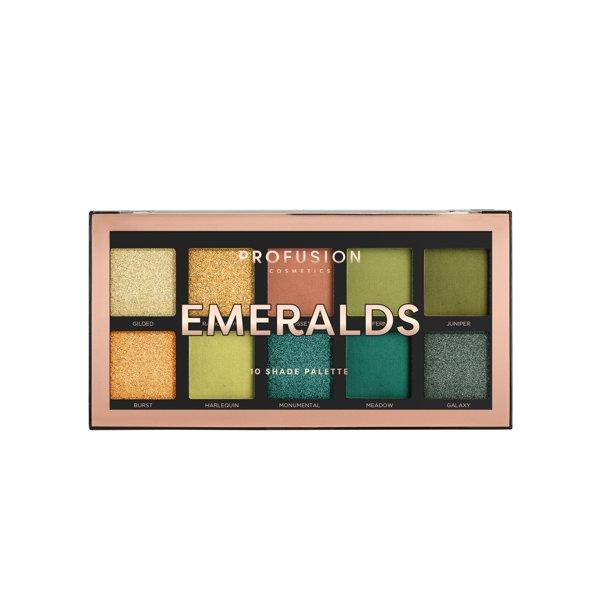 Profusion Cosmetics - Profusion Cosmetics Eyeshadow Palette, 10 Shades, Emerald, 3.5 oz.