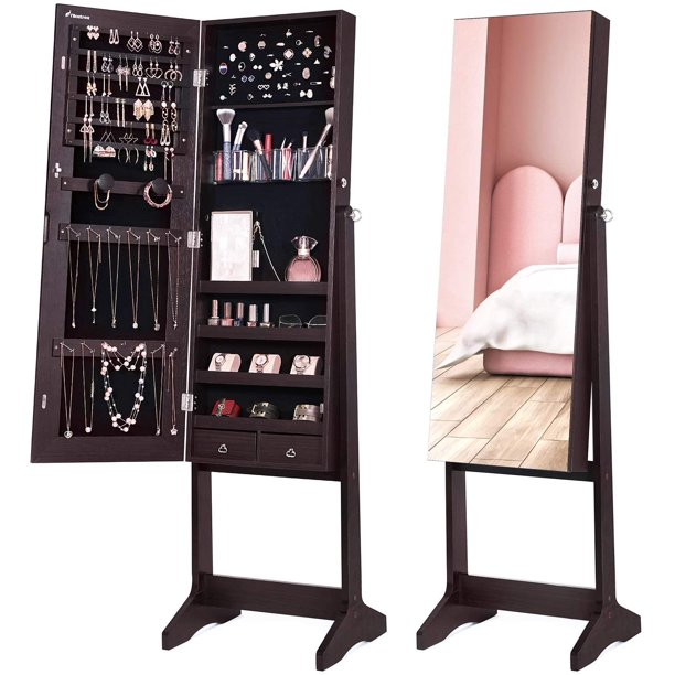 Nicetree Nicetree Jewelry Cabinet with Full-Length Mirror, Standing Lockable Jewelry Armoire Organizer, 3 Angel Adjustable (Brown)