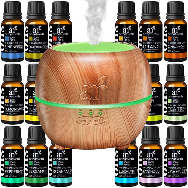 Artnaturals - Ultrasonic Oil Diffuser Set + 16 Pure Essential Oils (10mL) Natural Aromatherapy