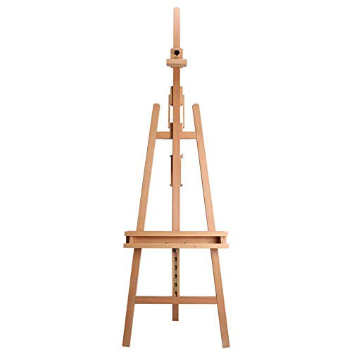 glokers Glokers Large Wooden Art Easel - Wood Adjustable Floor Artist Lyre A Frame - Titling Design with Brush Holder - Display Stand for Dry Erase Board, Posters, Whiteboard. Holds Canvas Up To 48 Inches
