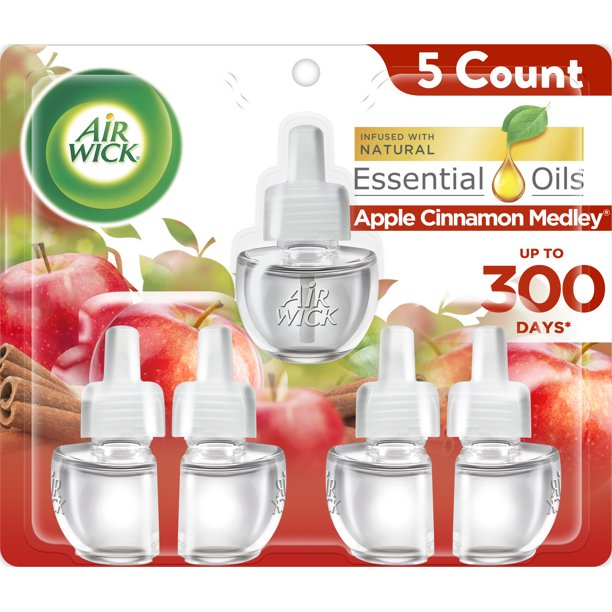 Air Wick - Air Wick Plug in Refill, 5ct, Apple Cinnamon Medley, Scented Oil, Air Freshener