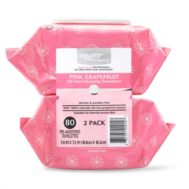 Walmart.com - Equate Beauty Pink Grapefruit Oil Free Cleansing Towlettes, 80 Count, 2 pack - Walmart.com