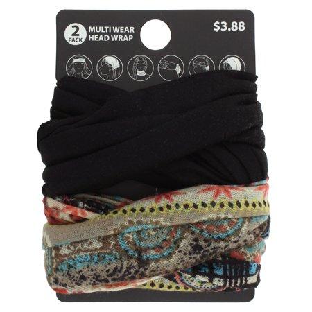 Walmart.com - 2pk Paisley/Solid Multiwear Headwrap