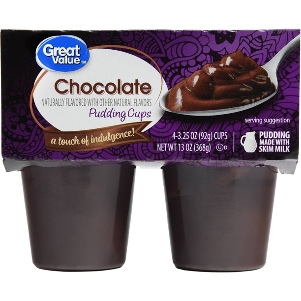 Great Value - Great Value Chocolate Pudding Cups, 3.25 oz, 4 count