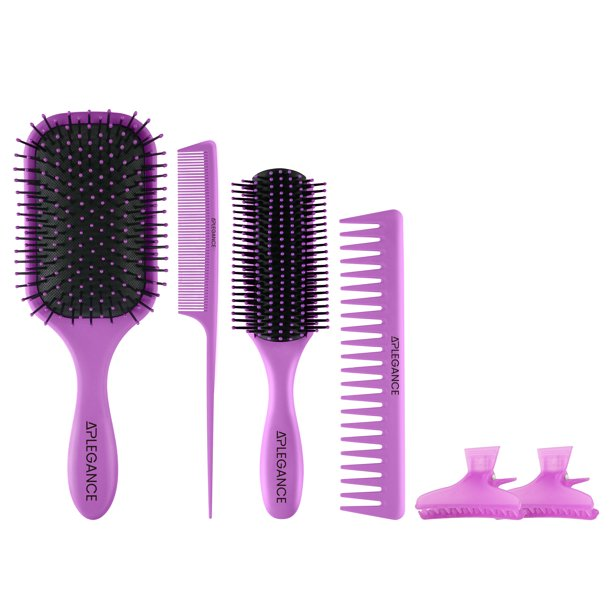 APLEGANCE - Hair Brush Set 6 Pcs - Detangler, Styling Brush, Tail Comb, WideTeeth Comb for men & women - soft bristles for wet hair, brushes for long, thick, thin, curly & natural hair -by APLEGANCE(Purple)