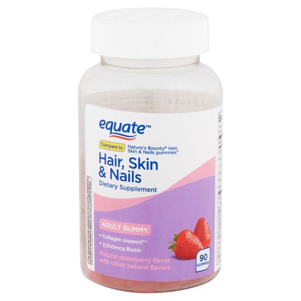 Equate - Equate Hair, Skin & Nails Adult Gummies, 90 count