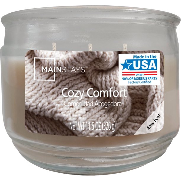 Mainstays - Mainstays Cozy Comfort Scented Candle, 11.5 ounces, Cream
