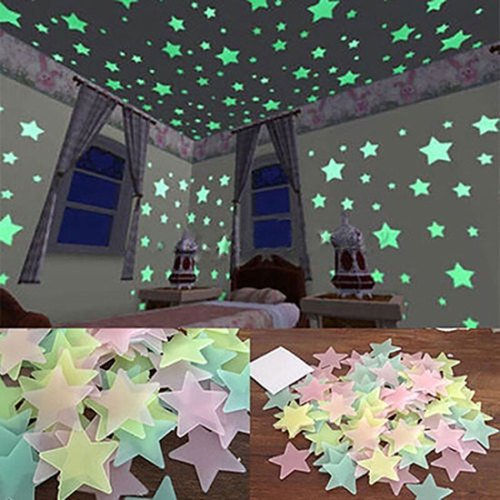 SPRING PARK - SPRING PARK 100/40Pcs 3D Colorful Glow in The Dark Luminous Stars Fluorescent Noctilucent Plastic Wall Stickers Murals Decals for Home Art Decor Ceiling Wall Decorate Kids Babys Bedroom Decorations