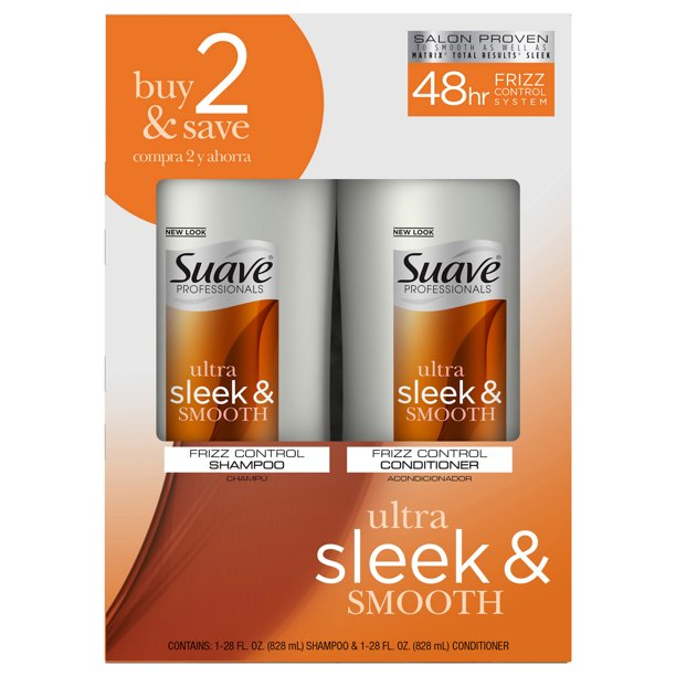 Suave - Suave Ultra Sleek and Smooth Shampoo and Conditioner 28 oz