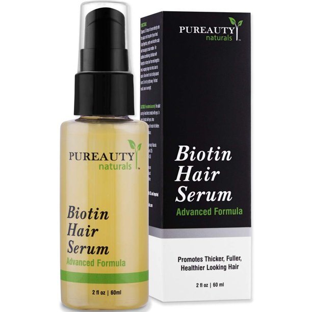 Pureauty Naturals Biotin Hair Growth Serum by Pureauty Naturals - Advanced Topical Formula to Help Grow Healthy, Strong Hair - Suitable For Men & Women Of All Hair Types - Hair Loss Support