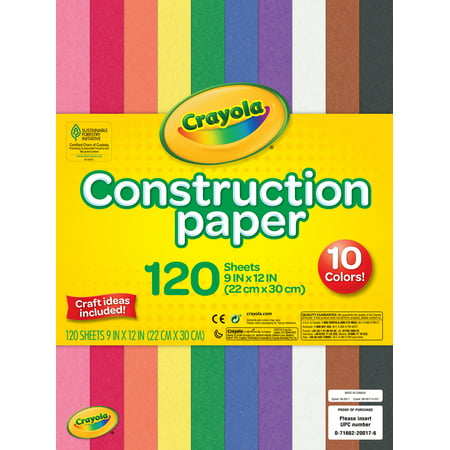 www.walmart.com - Crayola Construction Paper in 10 Assorted Colors, 120 Sheets