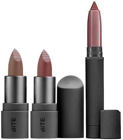 Bite - Bite Beauty Matte Creme Lip Crayon & Amuse Bouche Lipstick Travel Size, 3 Piece Set (Glace, Honeycomb, Rhubarb)
