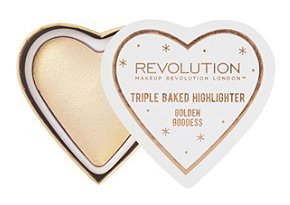 Makeup Revolution - Makeup Revolution Blushing Hearts Triple Baked Highlighter, Golden Goddess