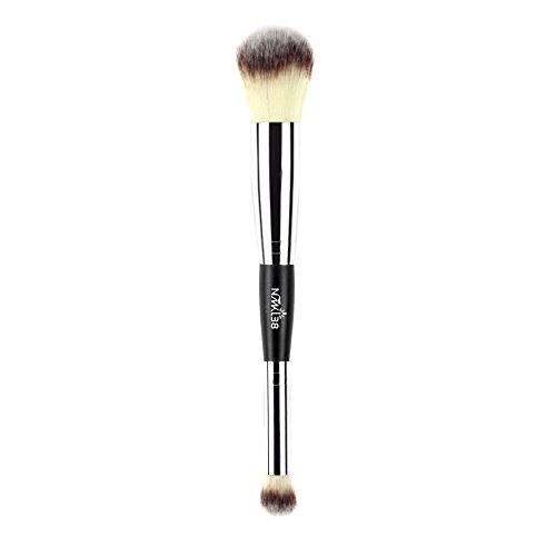NMKL38 - NMKL38 Double Ended Complexion Brush Face Concealer Powder Makeup Brush, Blending Liquid Foundation, Cream Cosmetics - Black Handle, Vegan Brush, Cruelty Free