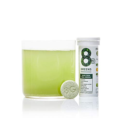 8G - 8Greens Effervescent Super Greens Dietary Supplement - 8 Essential Healthy Real Greens in 1-10 Tablets (1 Tube)