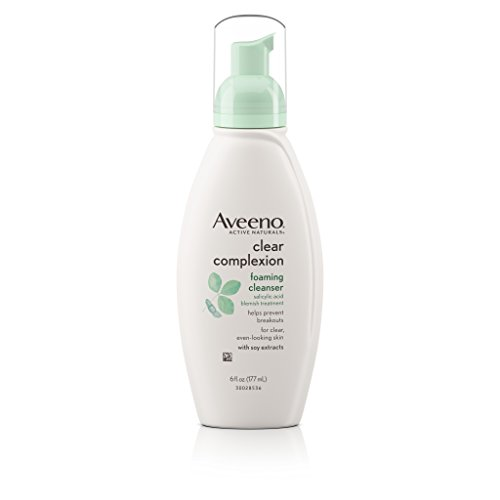 Aveeno - Aveeno Clear Complexion Foaming Oil-Free Facial Cleanser with Salicylic Acid for Breakout Prone Skin, Face Wash with Soy Extracts, Hypoallergenic and Non-Comedogenic, 6 fl. oz