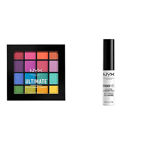 NYX - NYX PROFESSIONAL MAKEUP Make Up Ultimate Eyeshadow Palette Brights Bundle with Proof It! Waterproof Eyeshadow Primer (2 Items)