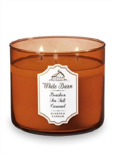 Bath & Body Works - Bath and Body Works White Barn Candle 3 Wick 14.5 Ounce Bourbon Sea Salt Caramel