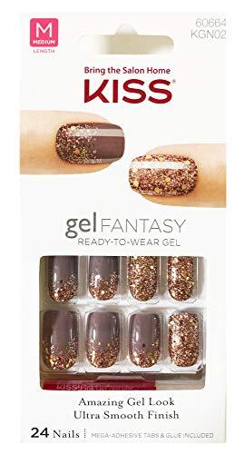 "Kiss - Kiss Nails GEL FANTASY""KGN02"" (Rock Candy) Medium Length Design Nails w/Adhesive Tabs & Glue"