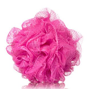 Evelyne - Mesh Loofah Shower Puff, Bath and Shower Body Sponge, Pink Color