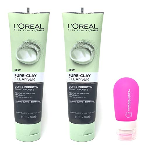 ProGlobal Commerce - L'Oreal Paris Skin Care Pure Clay Cleanser, Detox-Brighten 4.4 oz (Pack of 2) with Silicone Travel Bottle (3 oz) - Bundle: 3 Items