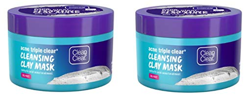Clean & Clear - Acne Triple Clear Clay Face Mask, Salicylic Acid, 3.5 oz (Pack of 2)