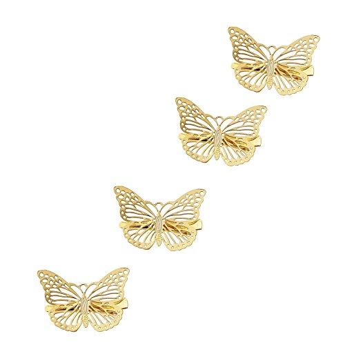ZeroZ - Women Girl Gift Golden Butterfly Hair Clip Headband Hair Accessories Headpiece 4 Pcs