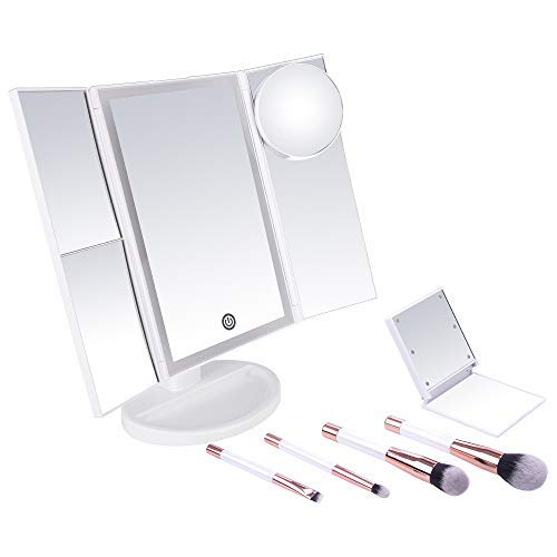 Tyeideas - Tyeideas LED Lighted Makeup Vanity Mirror Tri-fold 1x 2x 3x 10x Magnification Natural 36 Bulb Striplight Touch Dimmer 180 Degree Rotating, 4 Cosmetic Brushes & Lighted Compact Travel Mirror Included