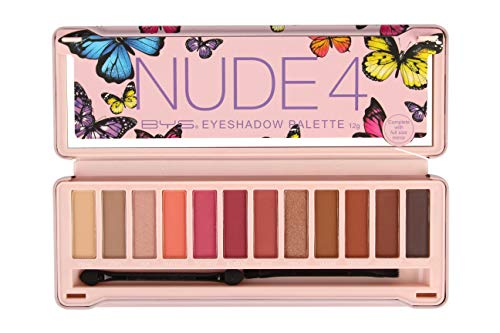 Bys - BYS 12 Shade Nude 4 Eyeshadow Palette Tin Collection with Mirror, Double Ended Applicator and Blender, Highly Pigmented Matte and Metallic Shades