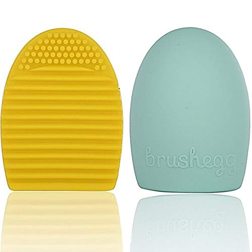 Cepansail - Cepansail 2 Pack Cleaning Silicone Glove Brush Egg Makeup Brush Washing Scrubber Board Cosmetic Clean Tools (Sky Blue/Yellow)