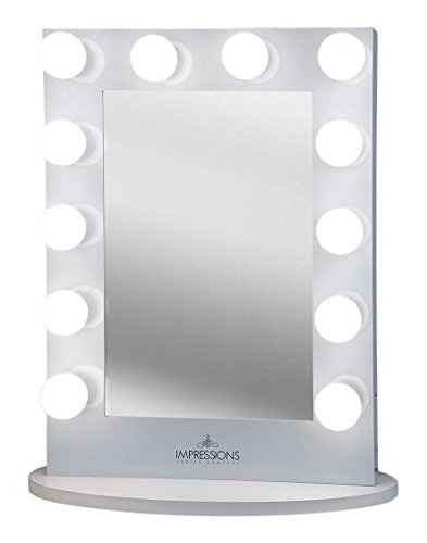 Impressions Vanity - Impressions Vanity Hollywood Iconic XL Vanity Mirror with Dimmer & Frosted Bulbs, White