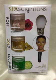 Spascriptions - SPAscriptions ROSE, GOLD, CUCUMBER Gel Face Mask with Mask Applicator (3 packs) 1.7 FL OZ Each