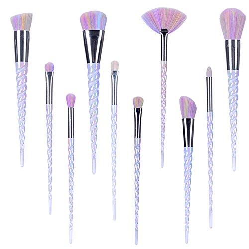TTRWIN - Make up Brushes,TTRWIN 10 Pcs Unicorn Professional Makeup Brush Set Synthetic Kabuki Face Blush Lip Eyeshadow Eyeliner Foundation Powder Cosmetic Brushes Kit