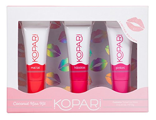 Kopari Beauty - Kopari Coconut Kiss Kit - Our Limited Edition Coconut Lip Balm Kit Contains 3 Sheer-Colored Glosses With 100% Organic Coconut Oil, Non GMO, Vegan, Cruelty Free, Paraben Free and Sulfate Free